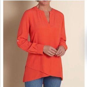 Soft surroundings asymmetrical bright orange tunic